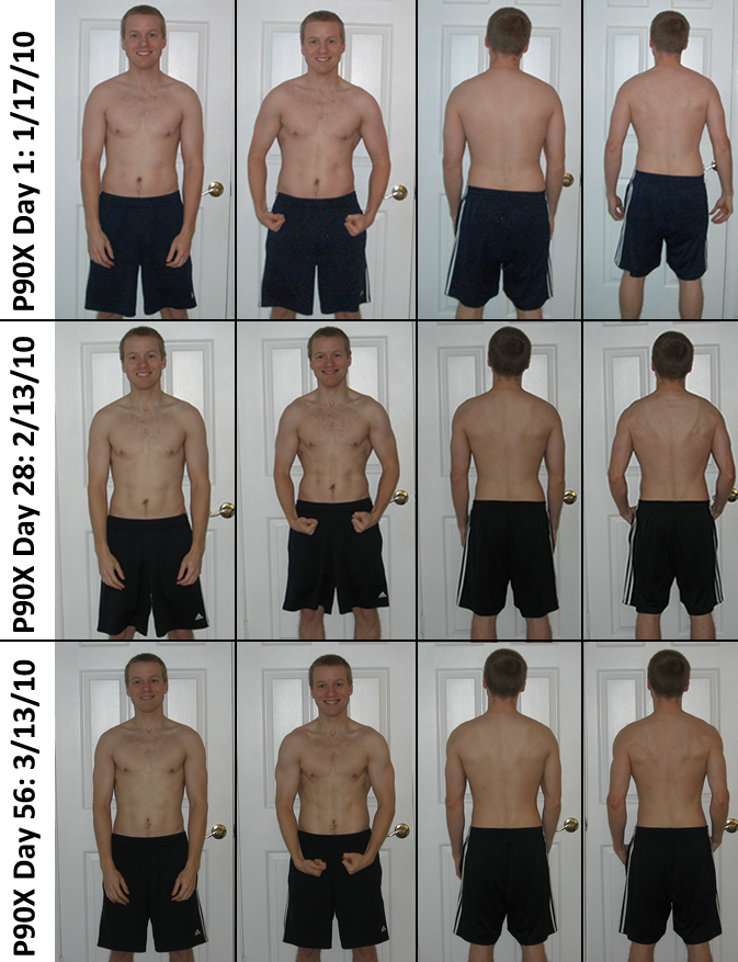 P90X Results Day 1, Day 28, Day 56 Pictures