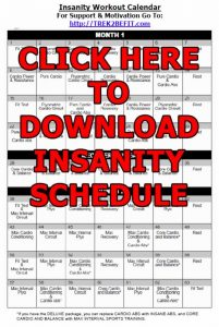 Insanity Schedule