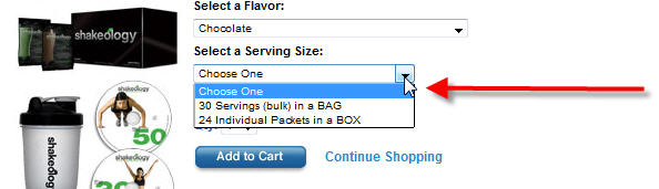 Step 2 - Select A Shakeology Serving Size